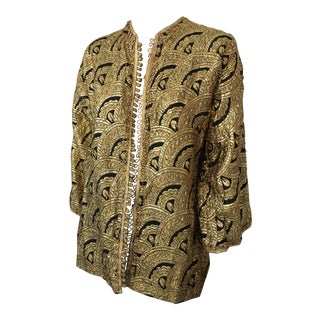 Moroccan Gold and Black Brocade Short Vest Caftan For Sale