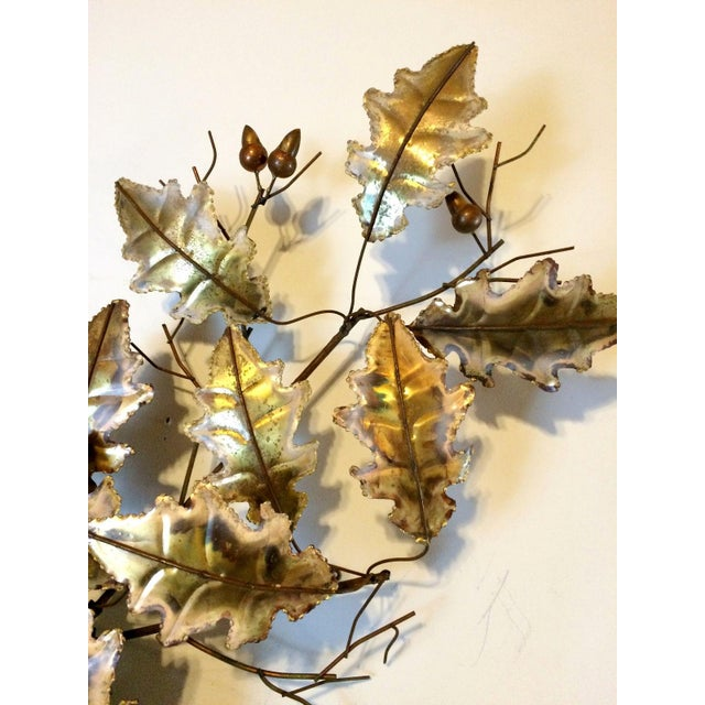 1976 Vintage Curtis Jere Mid-Century Modern Signed Brass & Copper Leaf Wall Sculpture - Image 5 of 11