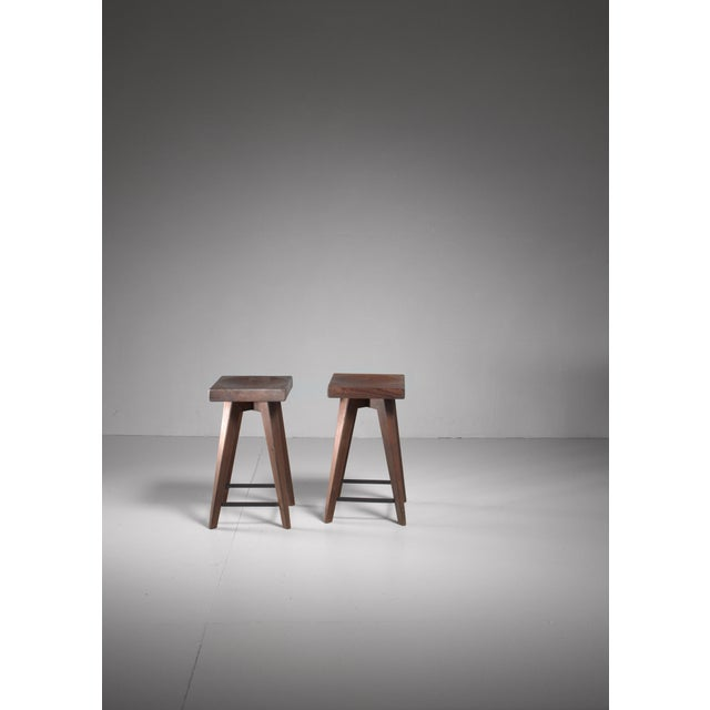 Pair of Christian Durupt stools from Meribel, France, 1950s For Sale - Image 4 of 5