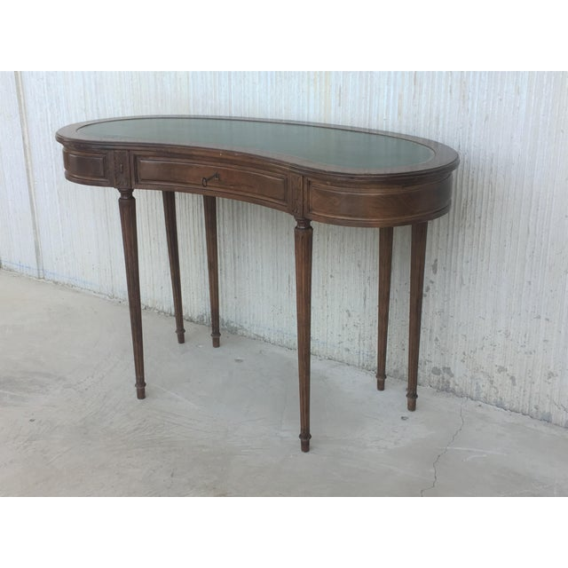 Coromandel and Marquetry Inlaid Victorian Period Kidney Lady Desk For Sale - Image 4 of 13