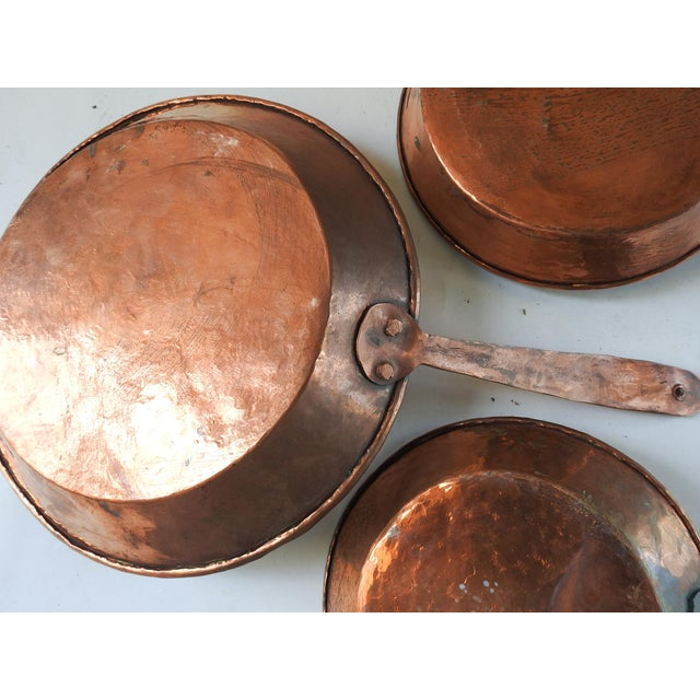 Rustic European Hand Forged Copper Cooking Pans - Set of 3 For Sale - Image 3 of 10