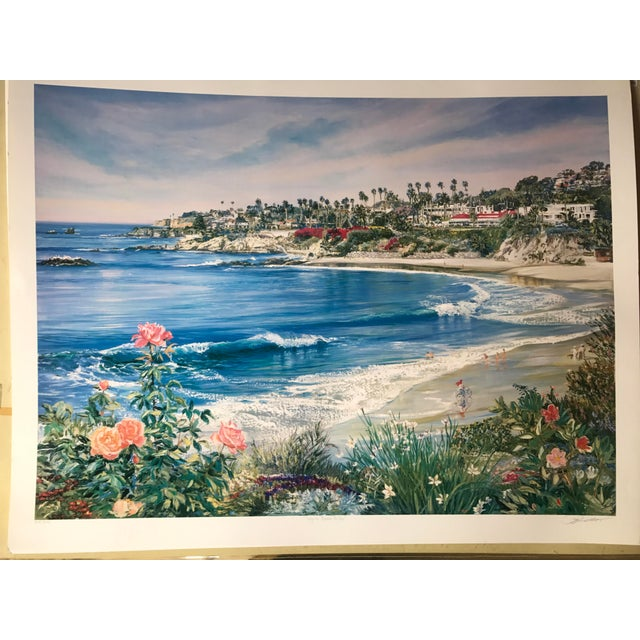 """Laguna Beach Bikes"" by Ruth Mayer. This is a colorful view of the Laguna Beach seaside. Lithograph hand signed in pencil...."