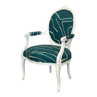 Italian Carved White Arm Chair Upholstered in Teal Graffito For Sale