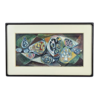 1957 Vintage Mid-Century Modern Watercolor Painting Abstract Symbols Sgnd Bond For Sale