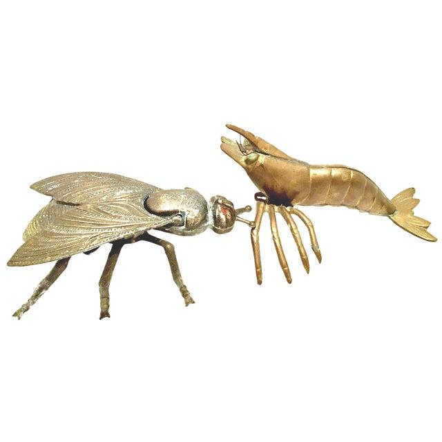 Mid-20th Century Art Nouveau Iron & Brass Figural Fly & Shrimp Sculpture-a Pair For Sale