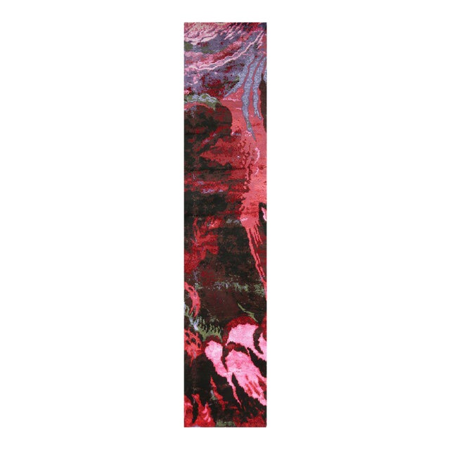 Hand Knotted Modern Floral Runner - 3' X 16' For Sale