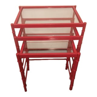 Red Lacqured Faux Bamboo Metal Nesting Tables - Set of 3 For Sale