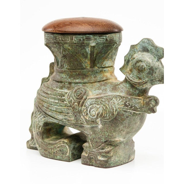 Asian Lawrence & Scott Verdigris Bronze Rooster Box For Sale - Image 3 of 8