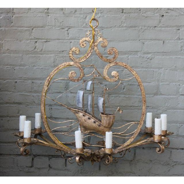 Ten light gold silvered iron ship chandelier chairish