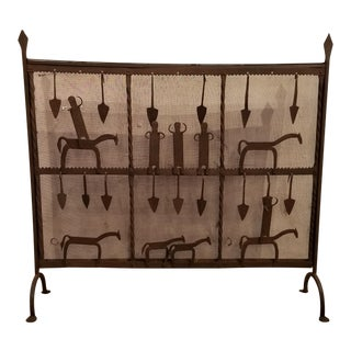 Handcrafted Iron Fireplace Screen With Horses & Figures For Sale