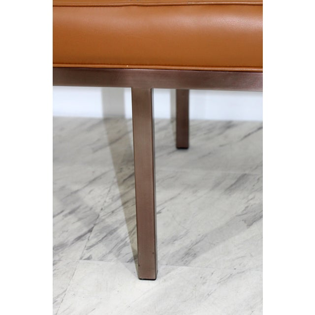 Animal Skin 1970s Mid-Century Modern X-Long Tufted Leather Museum Bench For Sale - Image 7 of 13