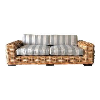 Custom Upholstered Rattan Sofa For Sale