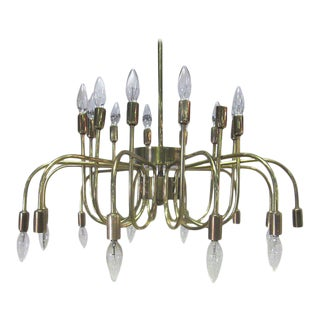 Italian Brass Twenty-Four-Arm Chandelier For Sale
