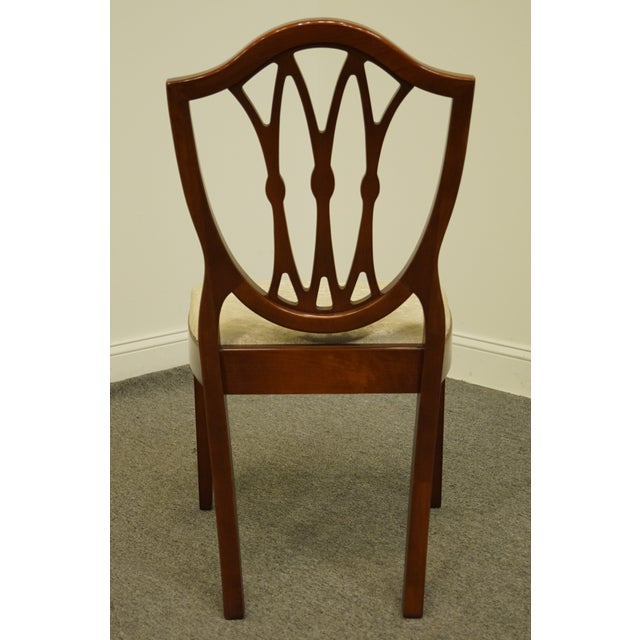 Wood 1960's Antique Vintage Solid Cherry Duncan Phyfe Sheild Back Side Chair For Sale - Image 7 of 10