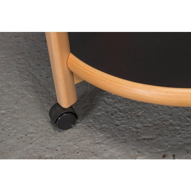 Two-Tier Reversible Top Beech and Laminate Side Table on Casters For Sale - Image 4 of 6