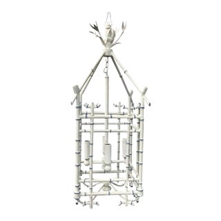 Faux Bamboo Tole Hanging Lantern Chandelier, Chinoiserie Style