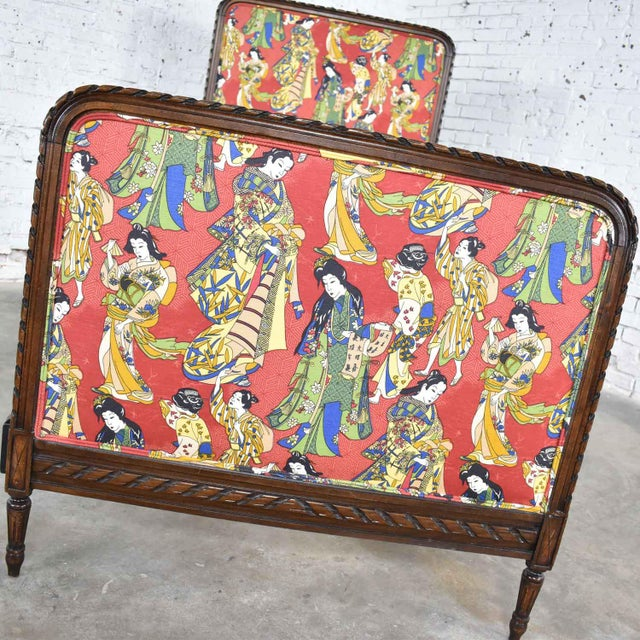 Antique French Carved Walnut and Upholstered Twin Bed With Asian Figural Fabric For Sale - Image 10 of 13