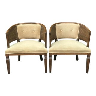 Mid-Century Modern Cane Barrel Back Chairs - a Pair For Sale