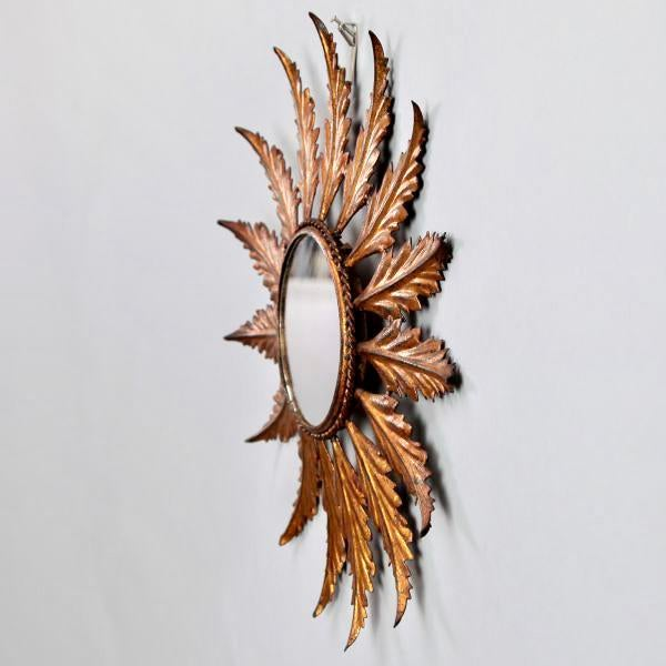 Mid-Century Italian Gilt Metal Sunburst Wall Mirror - Image 5 of 7