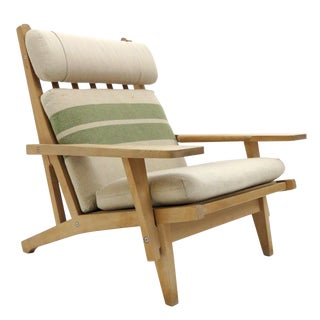 Vintage Mid-Century Hans Wegner High Back Lounge Chair For Sale