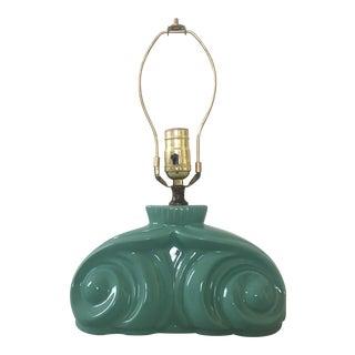 20th Century Art Deco Aqua Ceramic Table Lamp