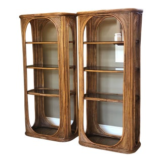 1970s Mid-Century Sculptural Reeded Bamboo Etageres-A Pair For Sale