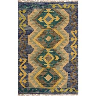"Kilim Arya Oren Blue & Gold Wool Rug - 2'7"" X 4'3"""