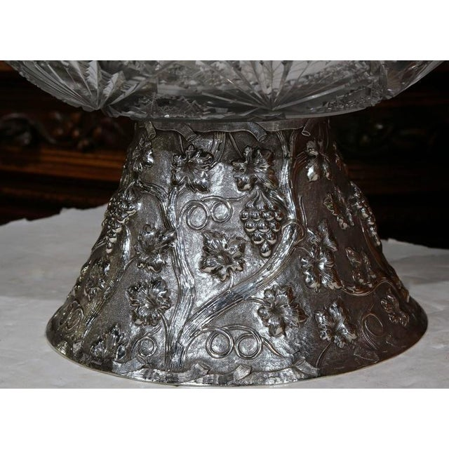 19th Century French Cut-Glass Punch Bowl With Silver Repousse Base For Sale - Image 5 of 9