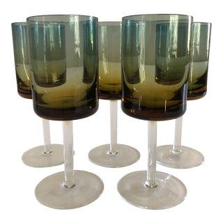 Blue Amberina Ombre Stem Glasses - Set of 5