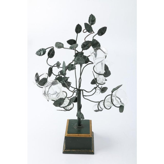 Glass Italian Tole Tree Epergnes - A Pair For Sale - Image 7 of 10