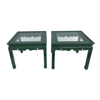 Green Lacquered Asian Glass Top Tables - a Pair For Sale