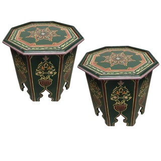 Moroccan Hand Painted Table - a Pair For Sale