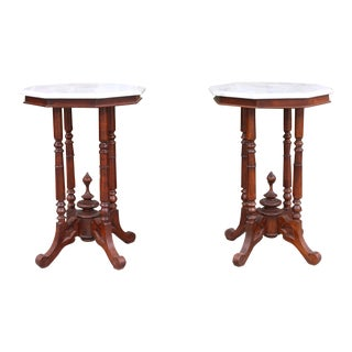 1950s Mahogany and Marble Tall Side Tables - a Pair For Sale