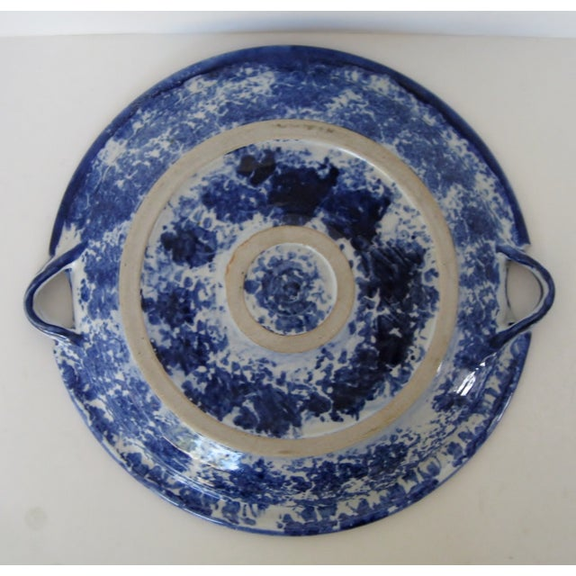 Late 20th Century Blue Iris Stoneware Platter For Sale - Image 5 of 5