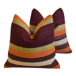 """Multi Colored Bohemian-Chic Striped Turkish Carpet Feather/Down Pillows 18"""" Square - Pair For Sale"""