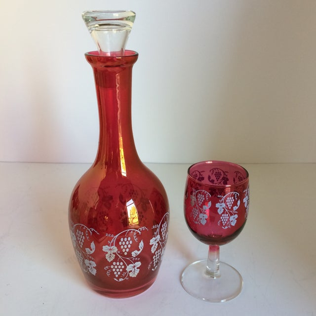 Italian Vintage Opalescent Cranberry Red Port Decanter and 6 Glasses -Set of 7 For Sale - Image 3 of 11