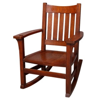 1920s Antique Arts & Crafts Mission Oak Limbert Rocking Chair For Sale