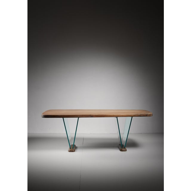 Mid-Century Modern Robert Sentou Desk with Glass Legs For Sale - Image 3 of 6