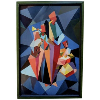 Cubist Oil Painting on Board by David Llewellyn, Dated 1967 For Sale