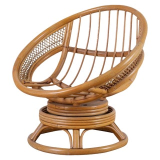 Midcentury Bamboo Rattan Wicker Round Swivel Lounge Chair For Sale