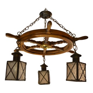 Vintage Ship Wheel With Three Hanging Lanterns Light Chandelier For Sale