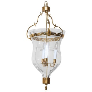 Gustavian Style Glass Bell Jar Lantern With Brass Details, 20th Century For Sale