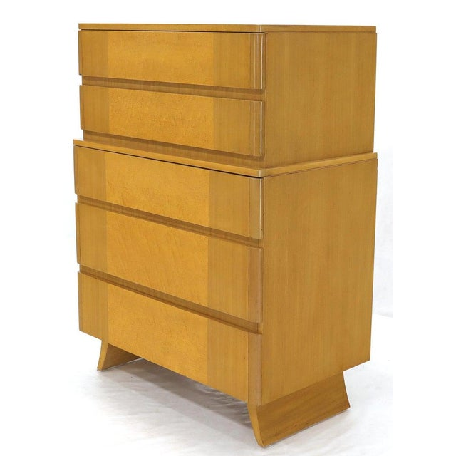 Mid-Century Modern Five Drawers Blond to Gold Mahogany Saarinen High Chest Dresser For Sale - Image 3 of 11