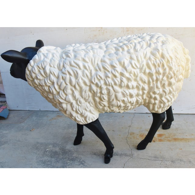 Vintage Metal Life-Size Sheep Lamb Garden, Patio, Lawn or House Statue For Sale - Image 4 of 13