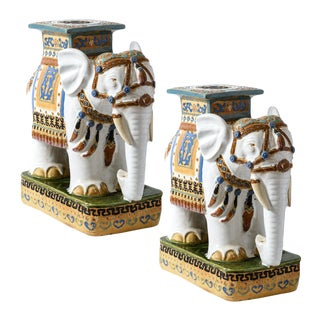 1970s Vintage Glazed Terracotta Elephant Garden Stools- a Pair For Sale
