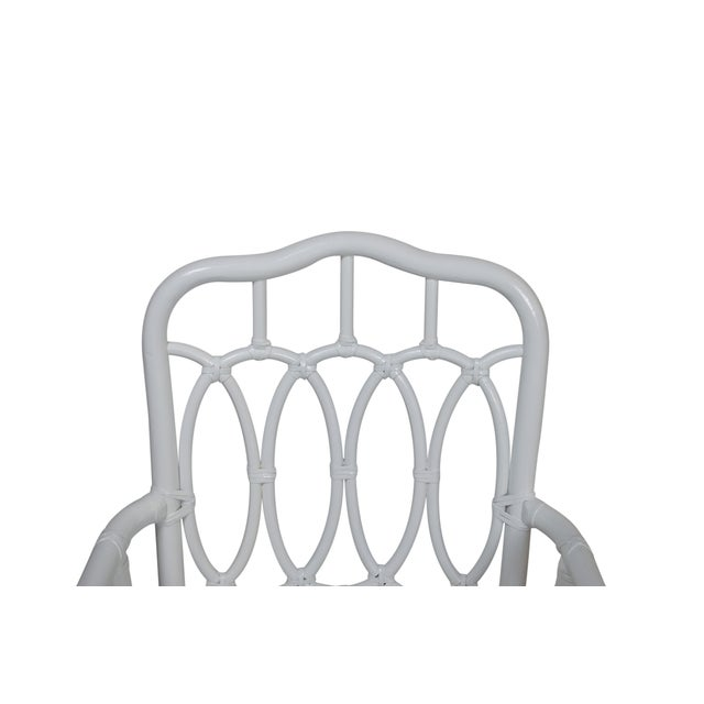 Vintage White Lacquer Rattan Armchairs - Set of 4 For Sale - Image 4 of 5