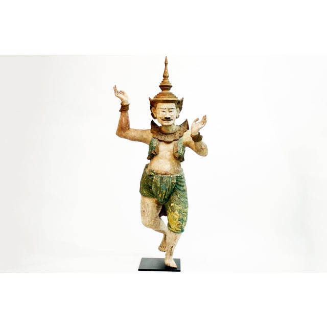 This monumental hand-carved Burmese Nat is from the early 19th century Rangoon, Myanmar and is made from teak wood. Nats...
