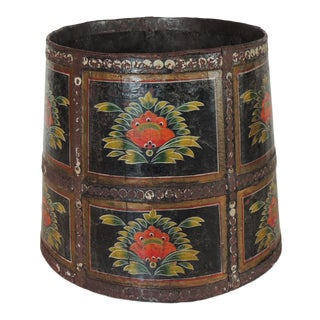 Vintage Hand Painted Round Indian Planter For Sale