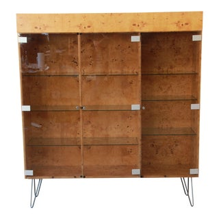 Milo Baughman Burl Wood Glass Front Bookcase or Display Cabinet on Hairpin Legs For Sale