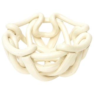 Twisted Coiled Ceramic Sculptural Bowl For Sale